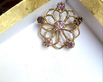 40s Gold Tone and Purple Rhinestone Brooch