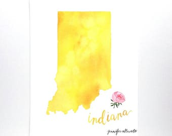 Indiana watercolor state map art print