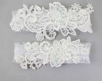 Off White Lace With Blue Pearl Beads Wedding Garter Set, Bridal Wedding Garter,Ivory Wedding Garter,Somthing Blue