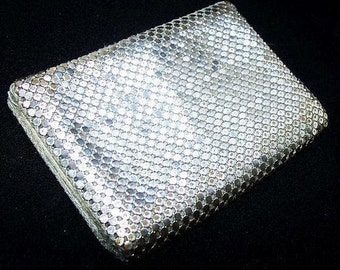 "Silver Wallet Card Case Metallic Mesh 2 Lined Leather Inserts LADIES Accessory 4"" Vintage"