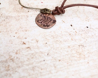 Father's Day Gift, Daddy's best catch, Fishing hook necklace,gift for fisherman,grandfather gift,men's jewelry,name necklace