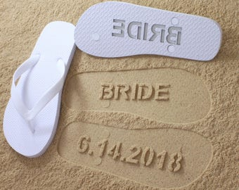 Custom Beach Custom Wedding Flip Flops - Personalized Wedding Shoes for Bride & Groom or Honeymoon *check size chart before ordering*
