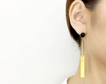 Sway - Signature Single-Sided Earrings Studs Gold Plated/ Black Howlite Marble