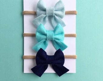 Hair Bow Set, Sailor Bows, Baby Headbands, Baby Bows, Mini Bows, Nylon Headband, Newborn Headband, Felt Bows, Hair Clips, Girls Bows