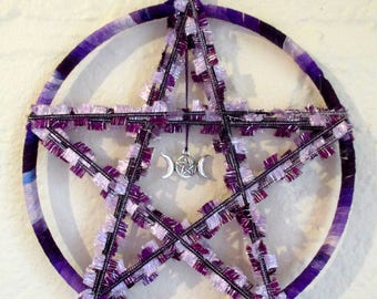 Handmade Pagan Wiccan 3D purple Triple Goddess Pentacle Wall Hanging. Home Blessing  Hobo
