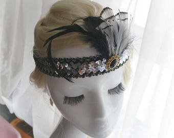 Feather silver Sequins Great Gatsby Headband,Special Occasion ,Gatsby Wedding,1920s Flapper Headband,Hippie Bohemian Clothing,fascinator