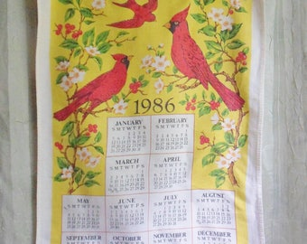 Red Cardinal Calendar Towel, 1986 Wall Calendar with Red Birds, Kitchen Towel with Rod Pocket