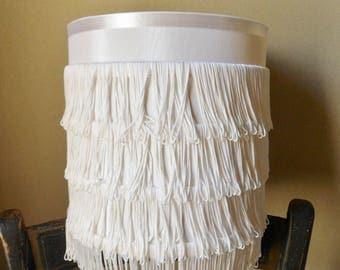 White Fringed Lamp Shade, Boho Drum Lamp Shade with Rows of Satin Fringe