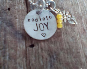 radiate JOY hand stamped necklace