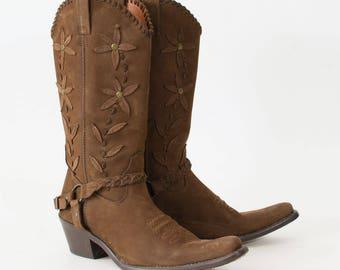 Vintage Brown Leather Cowboy Boots Indie Festival Women's UK 6 EU 39 US 8