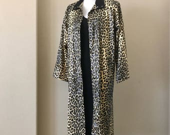 Vintage 1980s Leopard Print Raincoat Black Corduroy Collar Snap Buttons Two Pockets Full Length One Size Fits Most