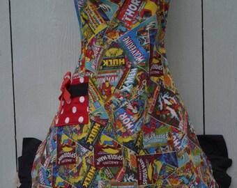 Superhero Aprons, Womens Apron, Marvel Comics Covers Apron, Cute Apron,