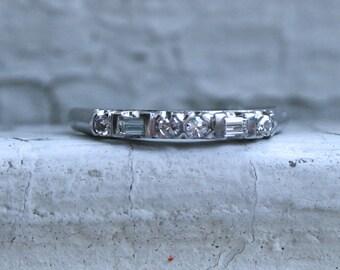 Lovely Vintage Alternating Round Baguette Diamond Platinum Wedding Band.