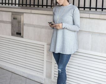 Crewneck Swing Top with Long Sleeves