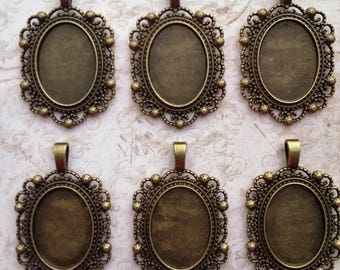 6 PIECES Cameo Setting - 25x18mm Cameo Cabochon - Bronze Antiqued Gold Baroque