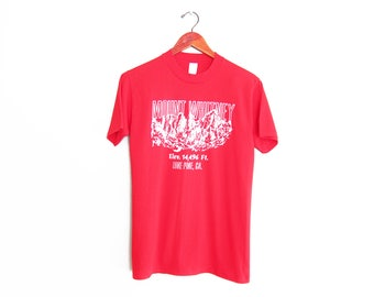 vintage t shirt / Mount Whitney shirt / California t shirt / 1980s red Mount Whitney Climbing camping t shirt Small