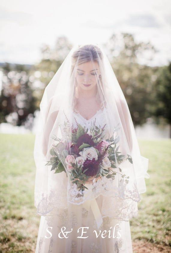 LACE DROP Veil | short veil, chapel length, traditional veil, ivory, light ivory, white colors, chapel veil, blush, edge with lace trim