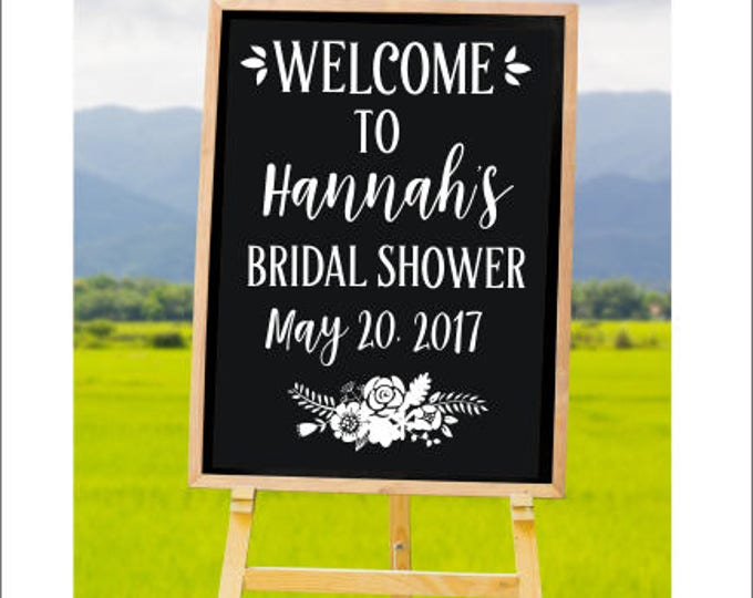 Bridal Shower Decal Personalized Bridal Shower Vinyl Decor DIY Lettering for Chalkboard Rustic Floral Feminine Bridal Shower Bridal Tea