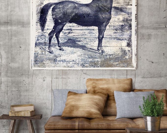 "Black Horse II. Large Horse, Unique Black Horse Canvas Print, Rustic Horse, Large Vintage Canvas Art Print up to 48"" by Irena Orlov"