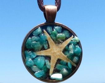 Mini Starfish Positive Energy Pendant with Amazonite and Copper Bezel. EMF Protection.