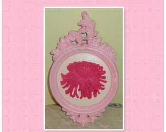 Vintage Homco Upcycled Hand Painted Light & Dark Pink Shabby Floral Flower Wall Decor Plaque Home Accent