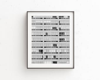 Modern urban photo | printable art | black and white abstract wall art | city photography | geometric print | instant download | street