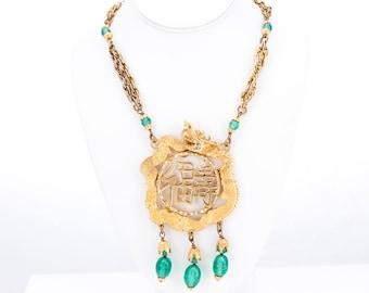 Vintage 1960's Kenneth Jay Lane Asian Inspired Dragon Medallion Necklace