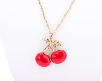 Vintage Kenneth Jay Lane Cherry Pendant Necklace