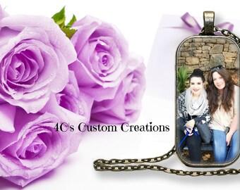 Custom Photo Necklace-Domino Shaped-Personalized Jewelry-Photo Jewelry-Photo Gifts-Photo Pendant