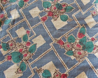 vintage FULL feed sack fabric -- pink, turquoise and blue floral print