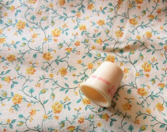 yellow and green floral print vintage cotton fabric -- 45 wide by 1 yard