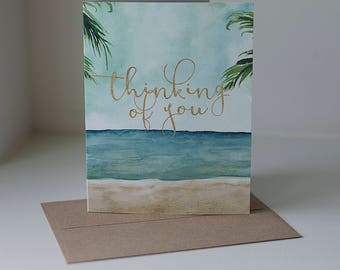 Thinking of You Card, Sympathy Card, Greeting Card, Beach Card, Thinking of You, Blank Card, Miss You Card, Friendship Card