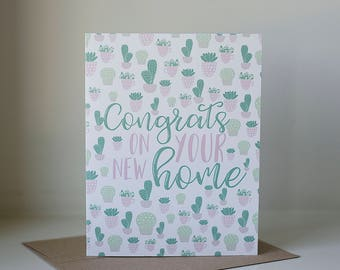 Congrats on Your New Home Card, Housewarming Card, New Home Card, New House Card, Housewarming Gift, Succulent Card, New Homeowners
