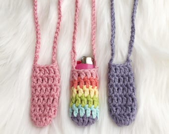 Pastel Rainbow Lighter Holders - Set of 3 - Crochet Lighter Leash Necklace - Festival Essentials - Ready to Ship - Noelebelle