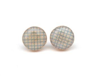 Light Blue Wood Stud Earrings, Hypoallergenic earrings
