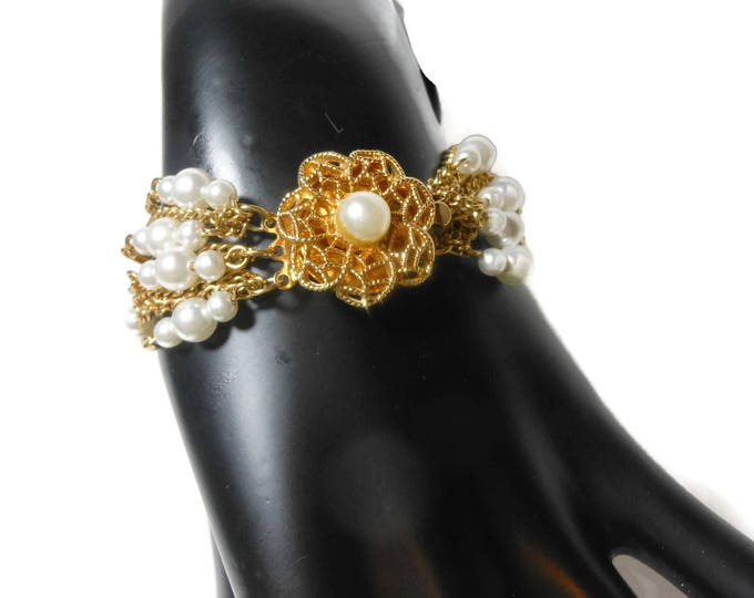 FREE SHIPPING Multi strand pearl bracelet, faux pearl and gold chain bracelet, decorative box clasp center, 11 strand