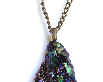 "Necklace  Pendant Titanium Crystal Cluster 70mms  or 2 1/2""  with Long Heavy Copper Chain"