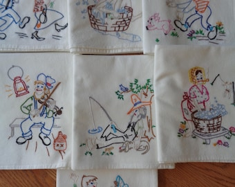 Set of HILLBILLY'S DOINS' Embroidered Cotton Dish Towels  Comical Designs