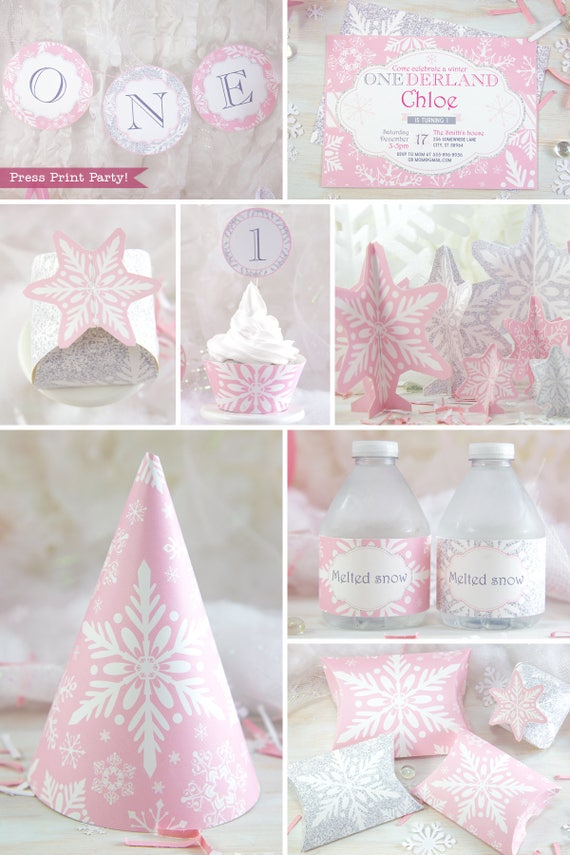 Winter onederland party decorations printable pack pink for 1st birthday decoration packs