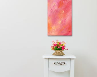 """ORIGINAL ABSTRACT ACRYLIC Painting, 11 3/4"""" x 25 1/4 x 1 1/8"""" Titled: Candyland, Art by Colleen Gimben, Orange, Pink, Peach, Plum, Yellow"""