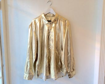 70s mens disco shirt L / vintage gold long sleeve button up / gold loose shirt / button down