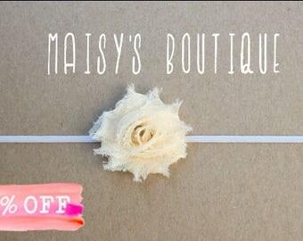 Mini Cream, Ivory Shabby Flower Headband/ Newborn Headband/ Baby Headband/ Flower Girl/ Wedding/ Photo Prop/ Clearance