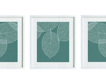 Set of 3 Blue Green Leaves Botanical Prints