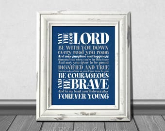 Forever Young Lyrics, Rod Stewart song,  Navy blue themed, Download Immediately