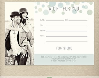 5x7 Digital or Print Gift Certificate, Gift Card, Photography Gift, One-Side, Single-Side, Electronic Gift Card, TEMPLATE - GC7