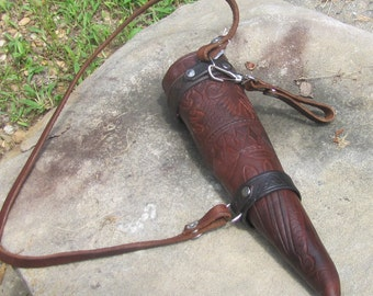 Leather Tooled Drinking Horn