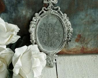 Ornately Framed Vintage Angel Image on Zinc, Hand Painted Frame