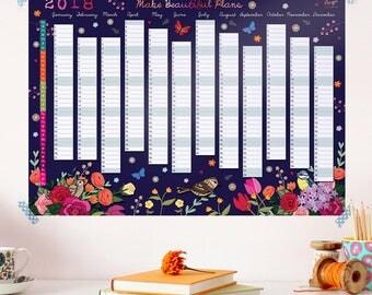 2018 Wall Planner Calendar - Year Wall Planner - Floral Wall Planner - Wall Calendar - Calendar for a Gardener