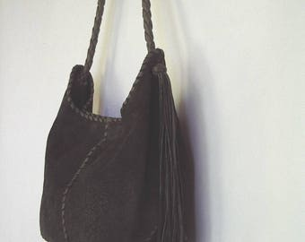 Dark Olive Green Leather and Suede Shoulder Sling Bag