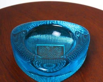 Vintage Scandinavian Swedish glass pin dish - 1960s blue glass Eagle bowl - desk accessory - mid century modern Kosta Boda Iittala Reijmyre